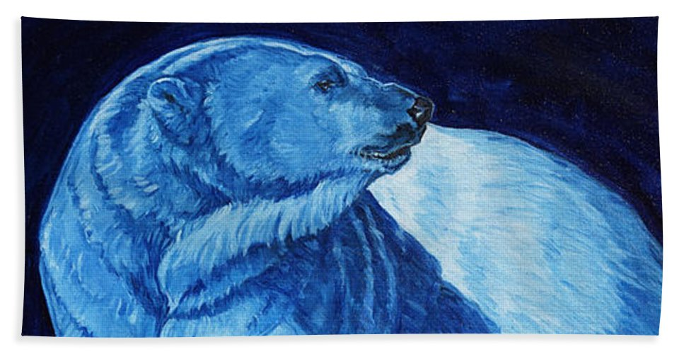 Polar Bear Art Hand Towel featuring the painting Polar Bear Art Blue Prince Lord Of The North by Christine Montague