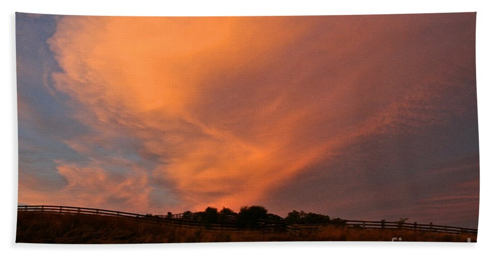 Clouds Bath Sheet featuring the photograph Magnificent Evening by Susan Herber