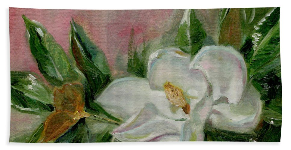 Still Life Bath Sheet featuring the painting Magnolia Blossom by Sarah Parks