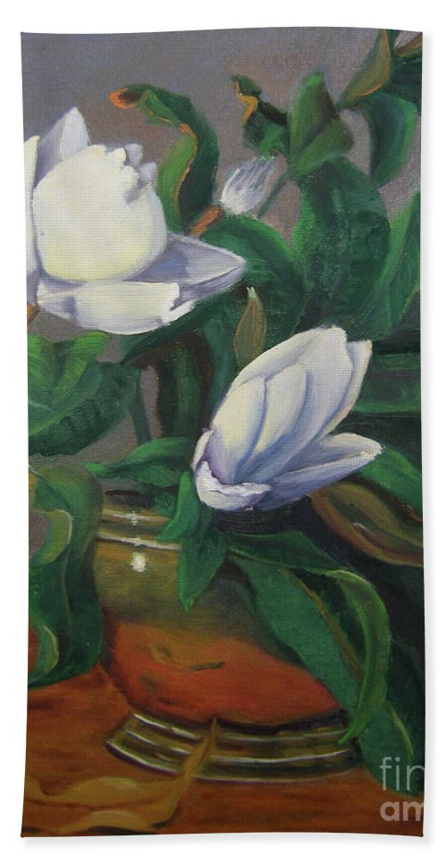 Floral Bath Sheet featuring the painting Magnolias On Brass by Lilibeth Andre
