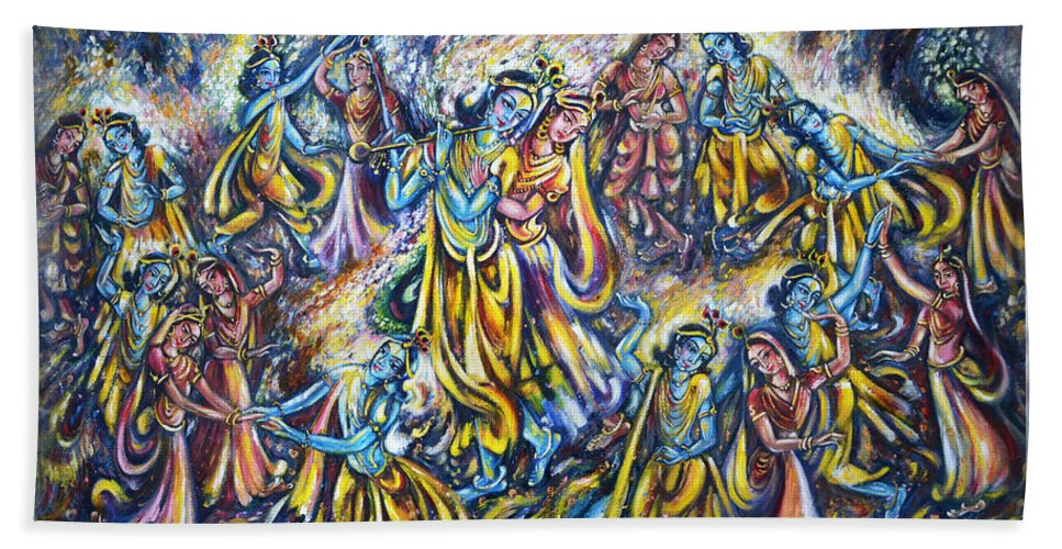 Krishna Bath Sheet featuring the painting Maha Rass by Harsh Malik