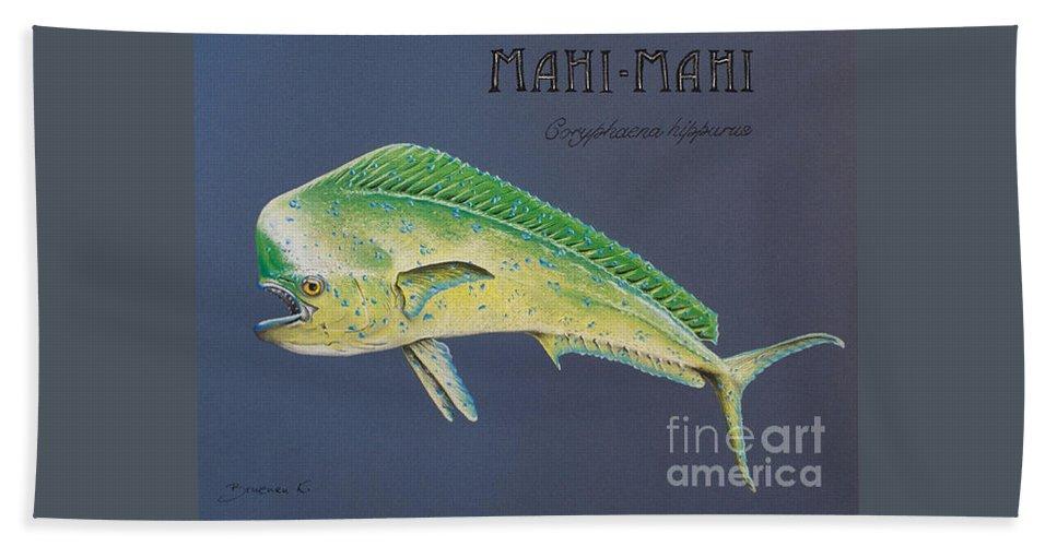 Mahi Mahi Bath Towel featuring the pastel Mahi-mahi by Katharina Filus