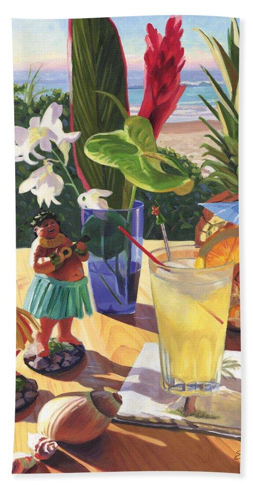 Mai Tai Hand Towel featuring the painting Mai Tai by Steve Simon