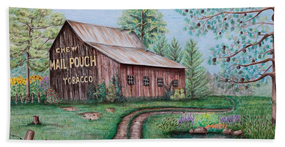 Mail Pouch Hand Towel featuring the drawing Mail Pouch Tobacco Barn by Lena Auxier