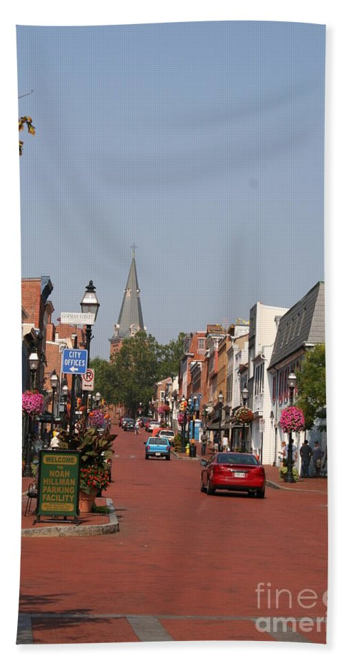 Road Hand Towel featuring the photograph Main Street In Downtown Annapolis by Christiane Schulze Art And Photography