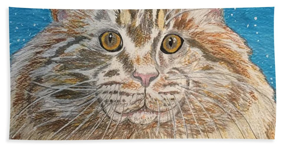 Maine Hand Towel featuring the painting Maine Coon Cat by Kathy Marrs Chandler