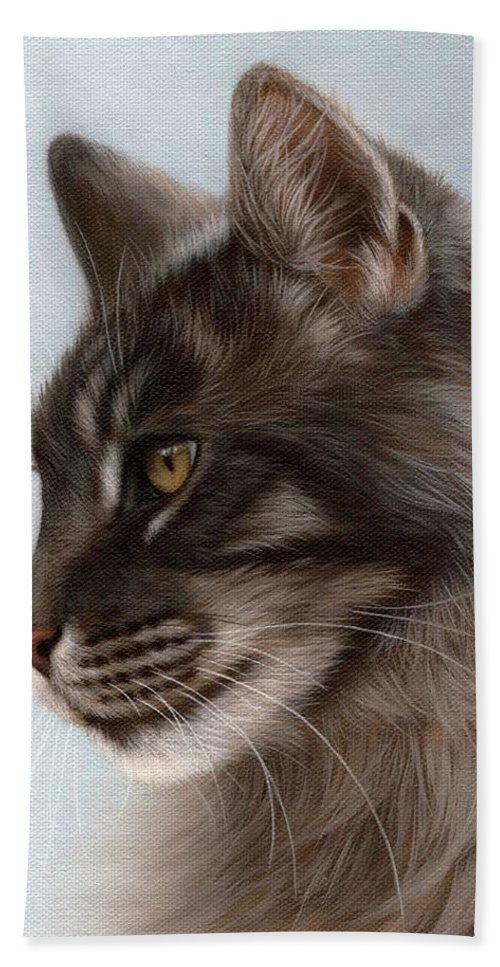 Cat Hand Towel featuring the painting Maine Coon Painting by Rachel Stribbling