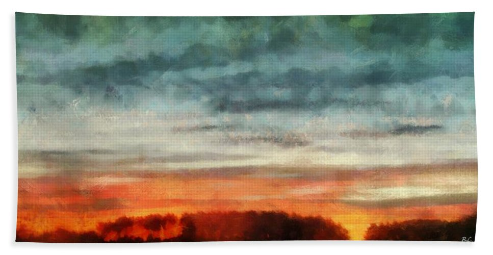 Landscape Hand Towel featuring the painting Maine Sunset by RC DeWinter