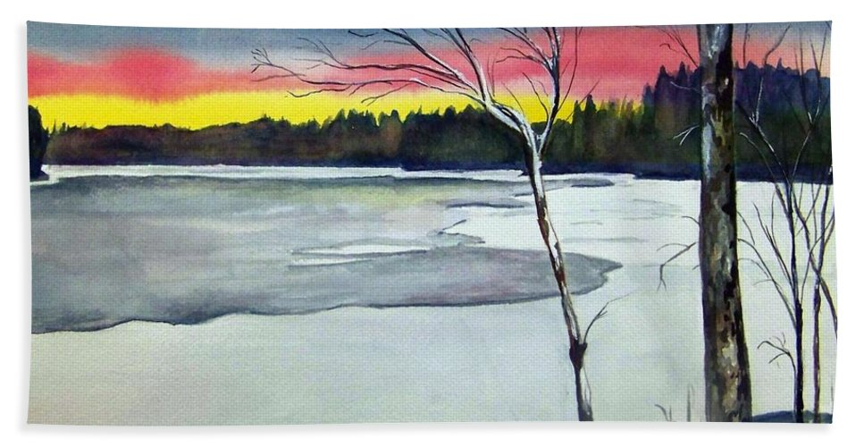 Landscape Hand Towel featuring the painting Maine Winter Sunset by Brenda Owen