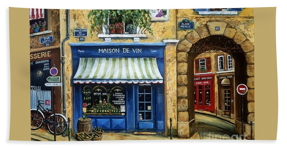 Wine Bath Sheet featuring the painting Maison De Vin by Marilyn Dunlap