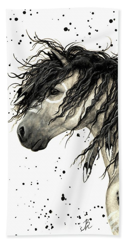 Mustang Horse Art Bath Towel featuring the painting Majestic Grey Spirit Horse #44 by AmyLyn Bihrle