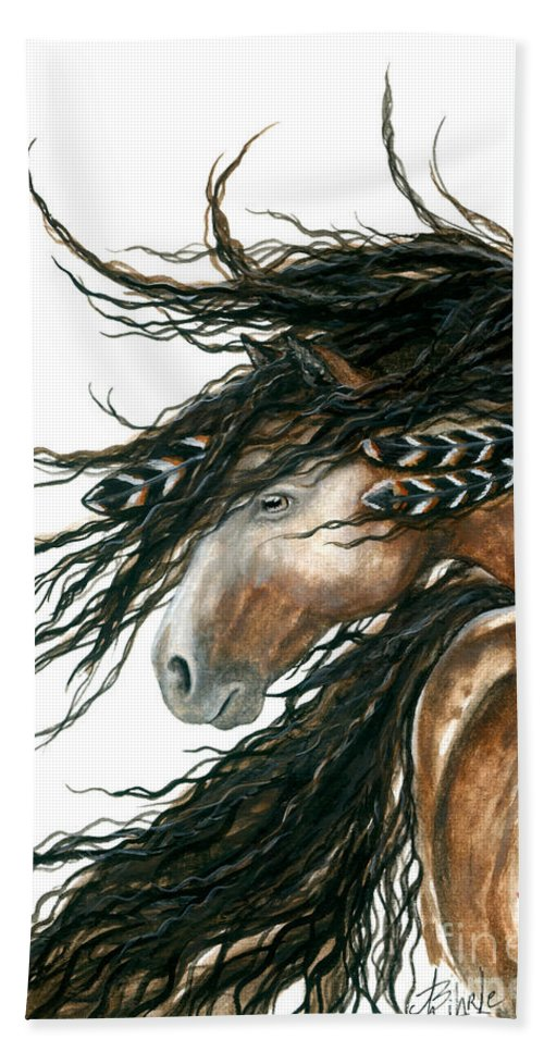 Horse Bath Towel featuring the painting Majestic Pinto Horse 80 by AmyLyn Bihrle