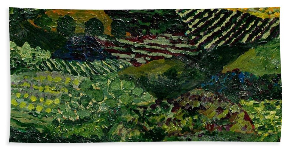 Landscape Bath Towel featuring the painting Majestic Valley by Allan P Friedlander