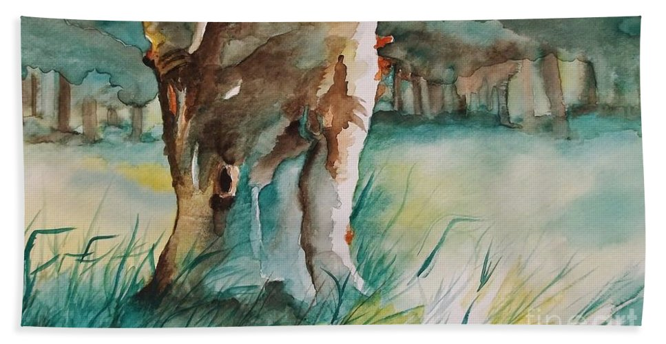 Majestic Tree Bath Sheet featuring the painting Majestueux by Lise PICHE