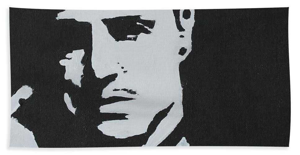 Godfather Hand Towel featuring the painting Make Him An Offer..... by John Halliday