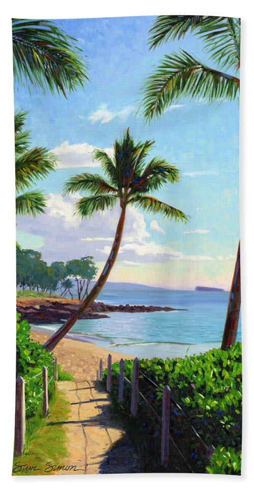 Makena Bath Sheet featuring the painting Makena Beach - Maui by Steve Simon