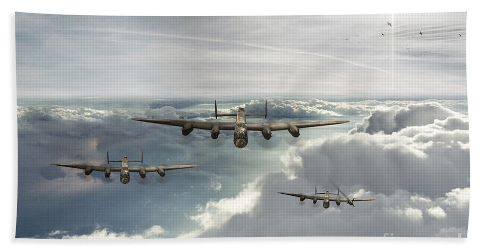 Avro Lancaster Bombers Hand Towel featuring the digital art Making Good The Escape by J Biggadike