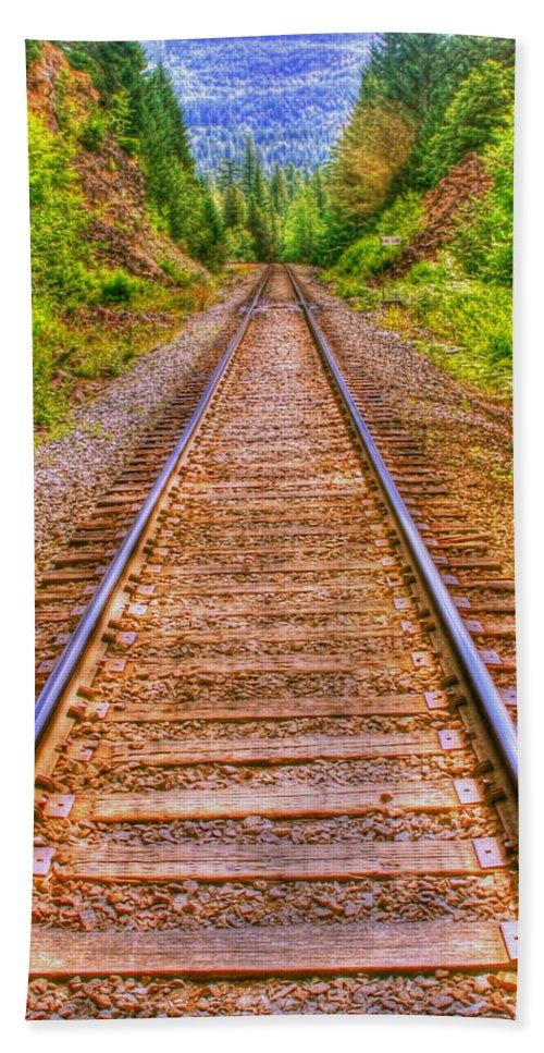 Railroad Tracks Bath Sheet featuring the photograph Making Tracks by Myrna Bradshaw