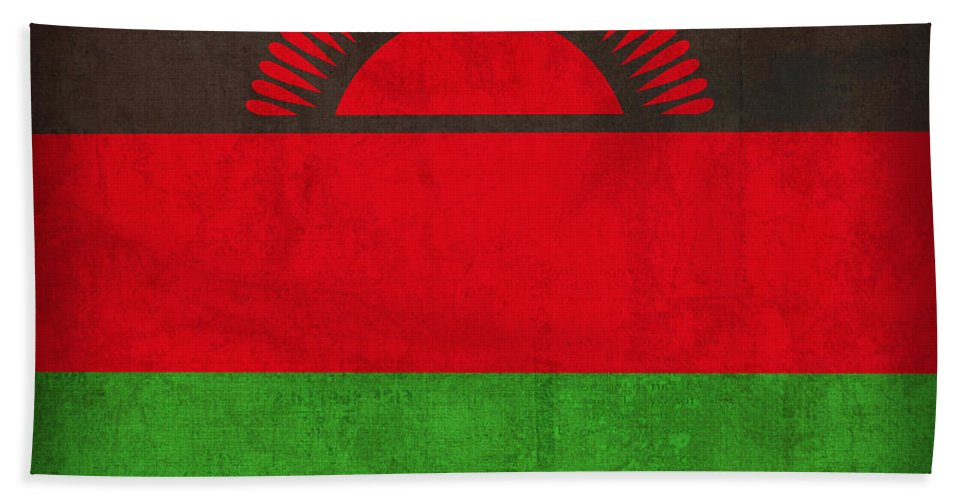 Malawi Hand Towel featuring the mixed media Malawi Flag Vintage Distressed Finish by Design Turnpike