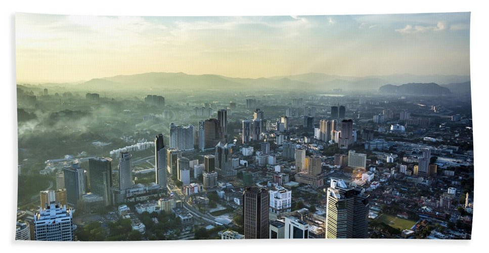 Built Structure Hand Towel featuring the photograph Malaysia Aerial by Jijo George