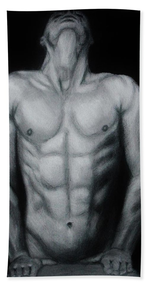 Nude Male Hand Towel featuring the drawing Male Nude Study by Michael Cross