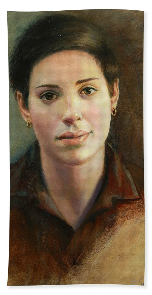 Figurative Hand Towel featuring the painting Malena by Sarah Parks