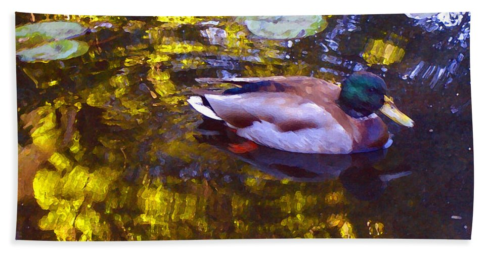 Landscapes Hand Towel featuring the painting Mallard Duck On Pond 2 by Amy Vangsgard