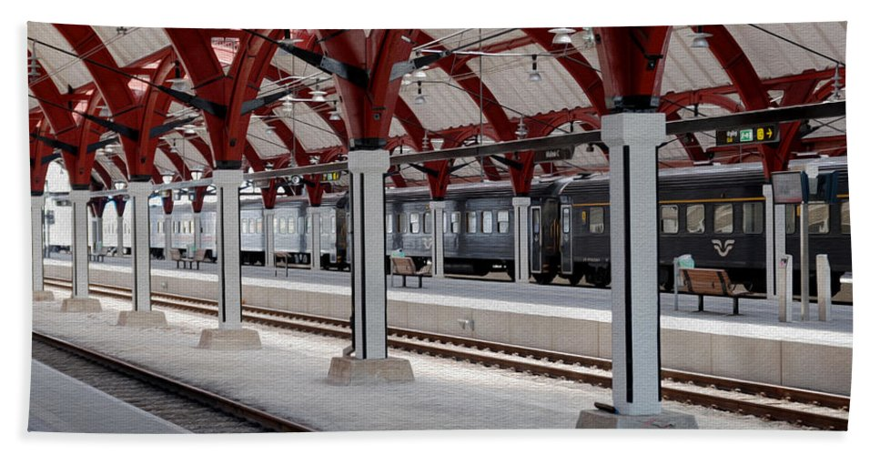 Malmo Hand Towel featuring the photograph Malmo Train Station by Tracy Winter