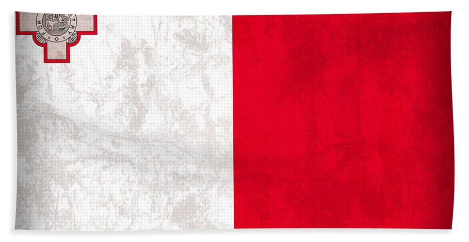 Malta Hand Towel featuring the mixed media Malta Flag Vintage Distressed Finish by Design Turnpike