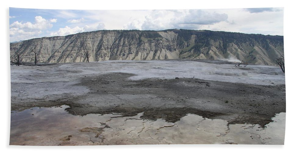 Mammoth Hot Spring Bath Sheet featuring the photograph Mammoth Hot Spring Landscape by Christiane Schulze Art And Photography