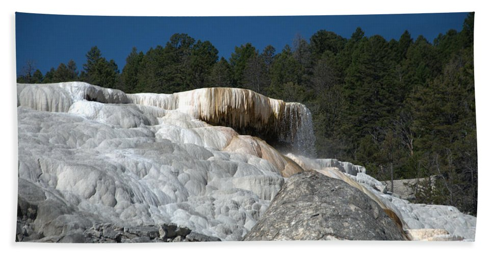 Blue Hand Towel featuring the photograph Mammoth Hot Springs 1 by Frank Madia