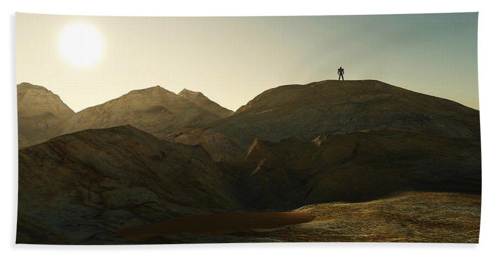 Landscape Hand Towel featuring the digital art Man Alone... by Tim Fillingim