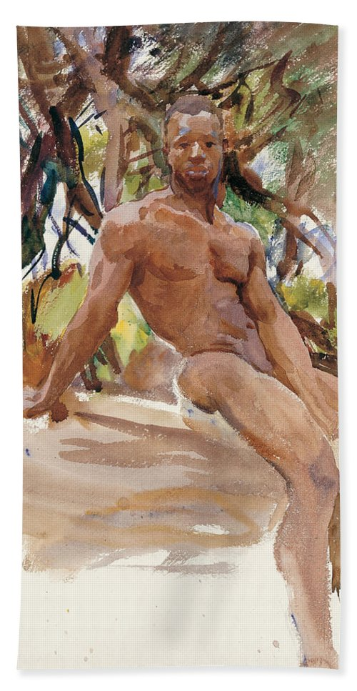 John Singer Sargent Bath Sheet featuring the painting Man And Trees. Florida by John Singer Sargent