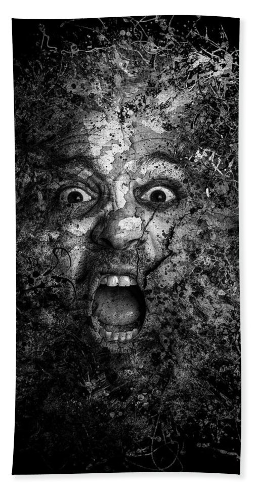 Horror Hand Towel featuring the photograph Man Eyes Face Horror Portrait Black And White by Andy Gimino