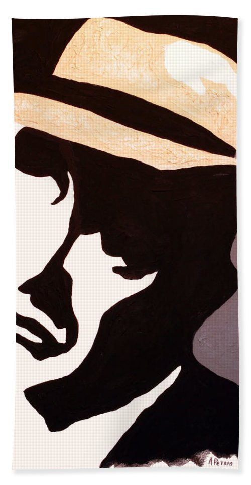 Man Hand Towel featuring the painting Man In Hat by Andrew Petras