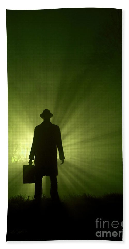 Man Hand Towel featuring the photograph Man In Light Beams by Lee Avison