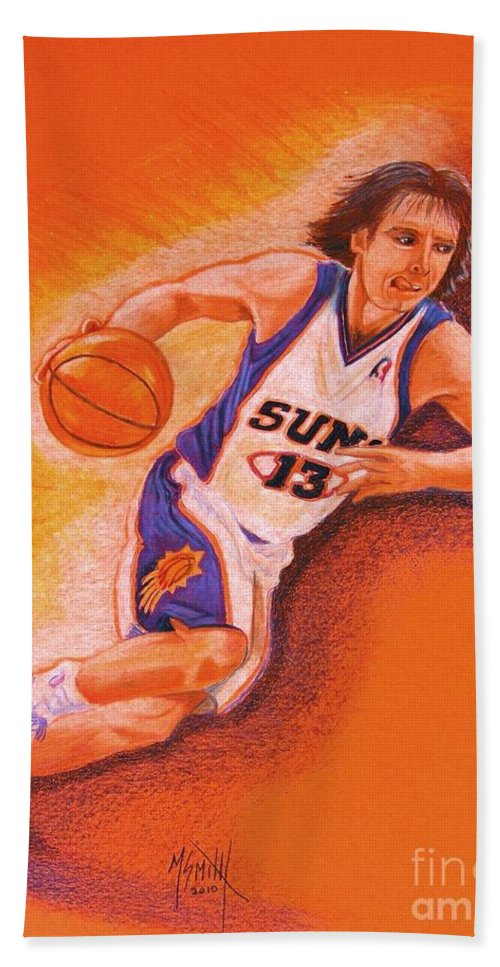 Steve Nash Bath Sheet featuring the drawing Man On Fire by Marilyn Smith