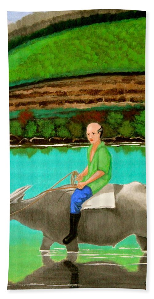 Landscape Hand Towel featuring the painting Man Riding A Carabao by Cyril Maza