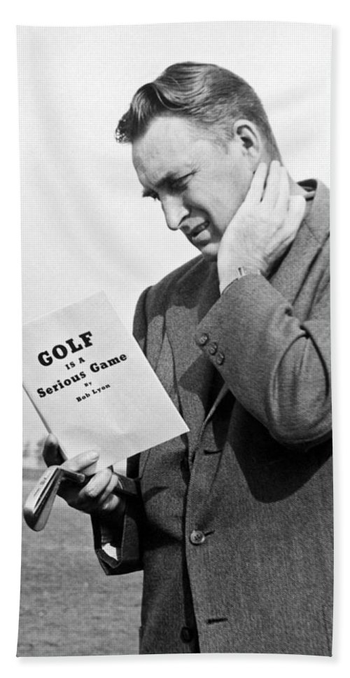 1940s Bath Sheet featuring the photograph Man Studying A Golf Book by Underwood Archives