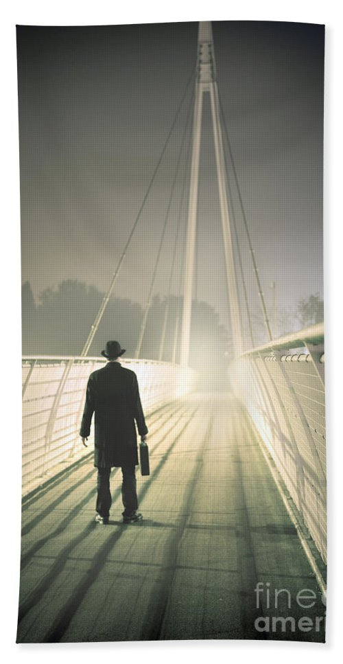 Man Hand Towel featuring the photograph Man With Case On Bridge by Lee Avison