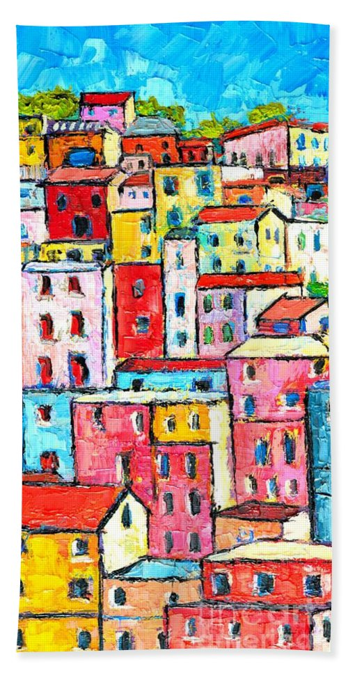 Manarola Bath Sheet featuring the painting Manarola Colorful Houses Painting Detail by Ana Maria Edulescu