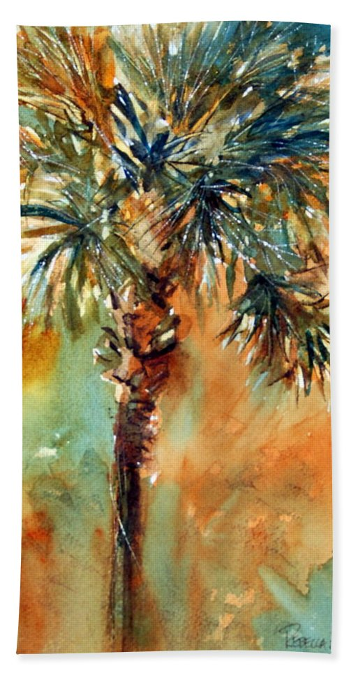 Palm Bath Sheet featuring the painting Manasota Key Palm 2 by Rebecca Zdybel