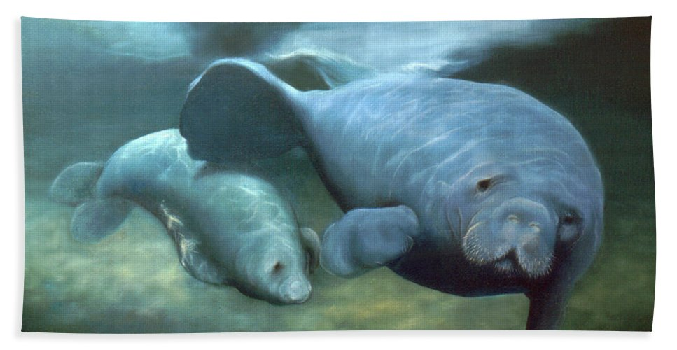 Manatees Bath Sheet featuring the painting Manatee Madonna by Anni Adkins