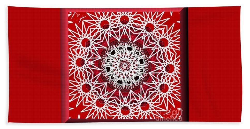 Mandala 014-3 Hand Towel featuring the digital art Mandala 014-3 by Maria Urso