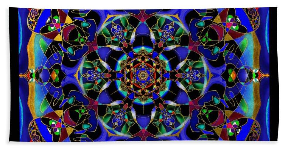 Mandala Hand Towel featuring the painting Mandala 2 by Wolfgang Schweizer