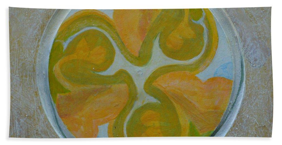 Mandala Modern Round Circle Outsider Thirds Abstract Green Yellow Folk Raw Bath Sheet featuring the painting Mandala 8 - Ready To Hang by Nancy Mauerman