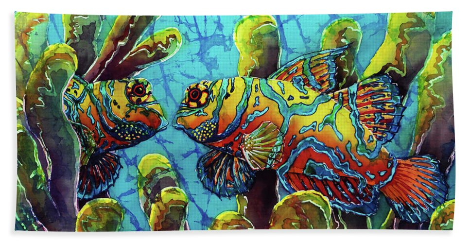 Mandarinfish Bath Towel featuring the painting Mandarinfish by Sue Duda
