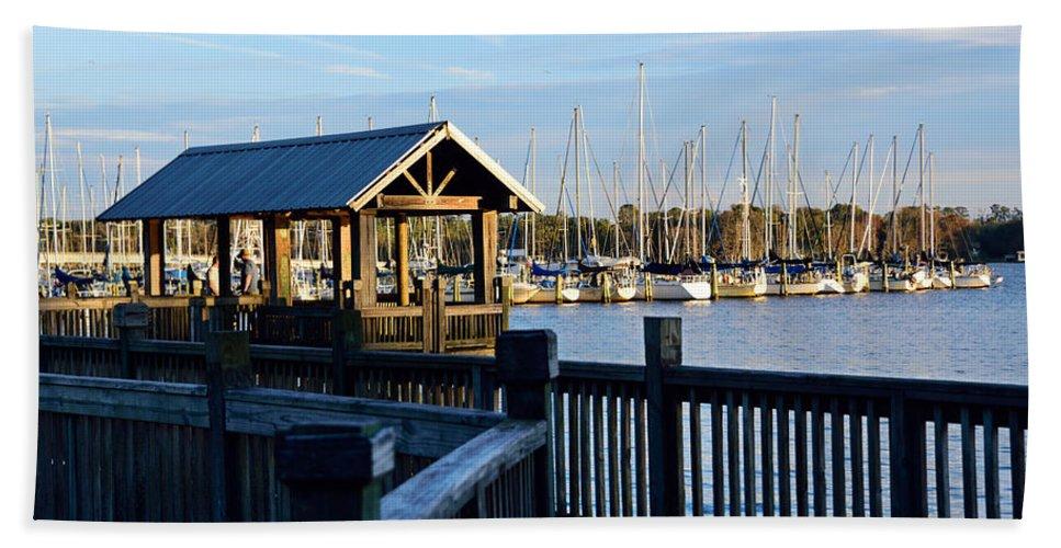 Dock Bath Sheet featuring the photograph Mandarin Park Boathouse by Spencer Studios