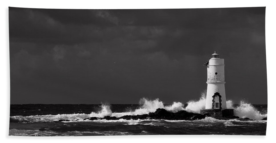 Barbara Meloni Hand Towel featuring the photograph Mangiabarche's Lighthouse by Barbara Alessandra Meloni