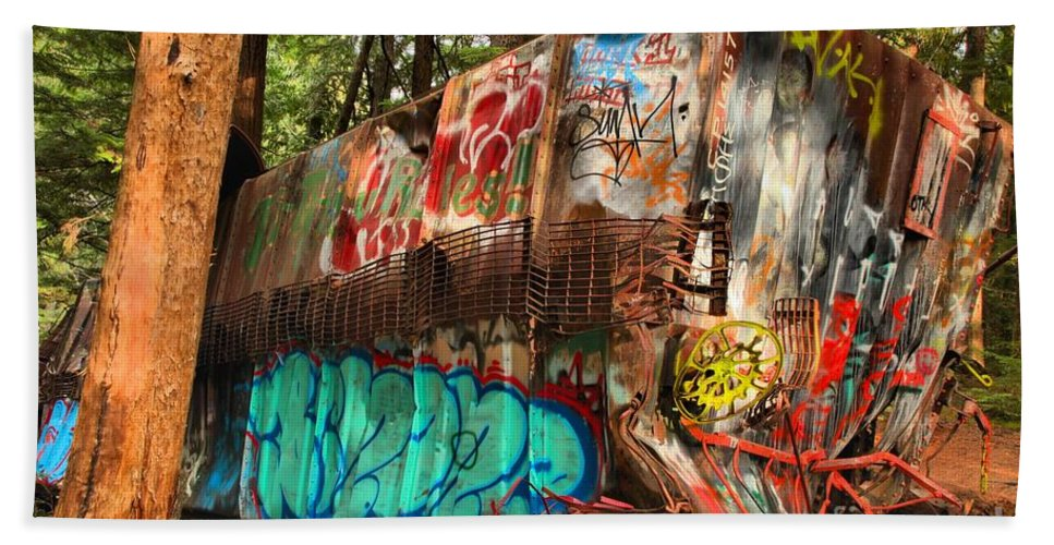 Train Wreck Hand Towel featuring the photograph Mangled Whistler Train Wreck Box Car by Adam Jewell